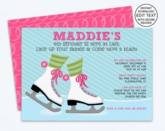Ice Skating Birthday Invitation, Ice Skating Party, Ice Skating Invitation, Ice Skating Invite, Ice Skating Party Invitations | 124