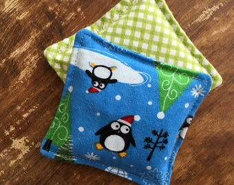 Cozy Vanilla Scented Flax Seed Penquin Flannel Hand Warmers