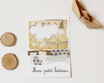 "Postcard ""My little boat"", 10, 5 x 14, 7cm"