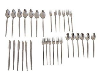 "Midcentury Stainless Flatware 31 Pieces Set Marked"" SRI Stainless Japan Astro"""