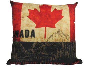 Canada Mountain Scene - Our Home & Native Land Canadian Flag Pillow Cover