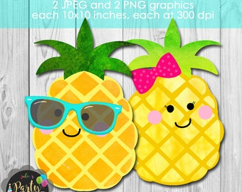 Instant Download  Pineapple Boy and Girl Digital Graphic Clip Art Set