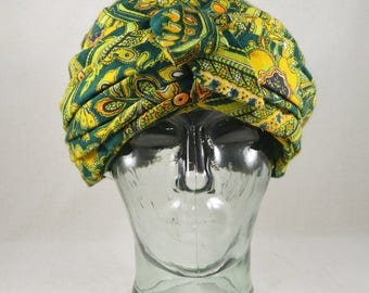 SUMMER SALE VIntage 60s 70s Green Yellow Paisley Print Turban / Pyschedelic Print Hippie Hat / Boho Bohemian Accessories / 1960s 1970s