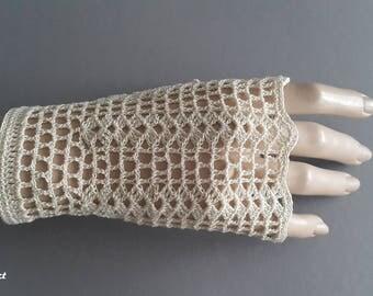 Crochet Mittens, Fingerless Gloves,Ivory, 100% Mercerized Cotton.