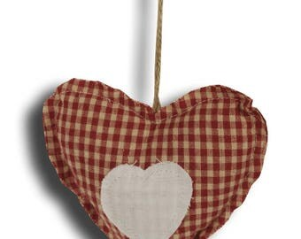 Heart hanging red gingham + white heart