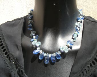 shades of blue kyanite and aquamarine necklace. AAA.