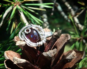 Chocolatey Australian Boulder Opal and Sterling Silver Wire Wrap Ring Size 6.5 / Heady Wire Wrap Ring / Boulder Opal Ring / rainbow / hippie