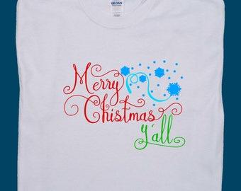 Merry Christmas Y'all, Merry Christmas shirt, Merry Christmas tee, Christmas t shirt, Holiday shirts Christmas, Xmas t shirts, Christmas tee