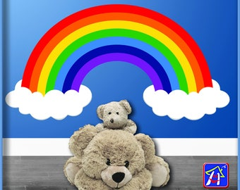 Rainbow and Clouds - Rainbow wall decal - Rainbow decal -  Nursery Rainbow and Clouds Decor, Bedroom Playroom decor - Toddler bedroom  decal