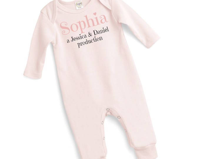 Personalized Newborn Girl Coming Home Onesie Outfit, Newborn Girl Take Home Onesie Romper Headband Pink Production 2017, Tesababe