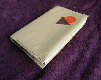 Beige leather book cover