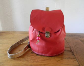 Handmade red/beige leather bag