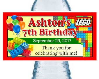 20 LEGOS BIRTHDAY party favors water bottle labels ~ glossy ~ waterproof ink