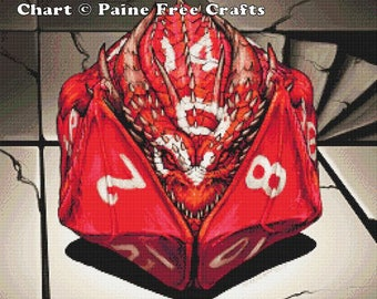 D20 Dice Dragon  - emailed PDF cross-stitch chart / pattern, original art © Stanley Morrison  licenced by Paine Free Crafts
