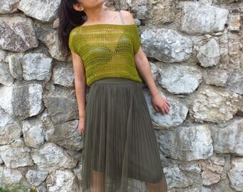 Loose Knit top, Knit Crop top, Women knit top, Airy knitted top, Cilantro green top sweater, Gift for wife
