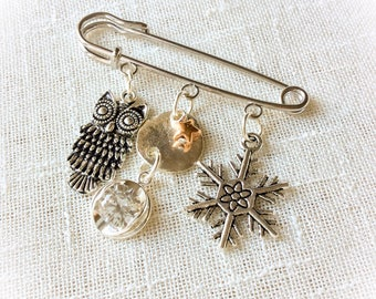 Scarf pin, safety pin jewelry, kilt pins, xmas gifts, gift for her, gift for women, shawl pin, brooch, handmade, gifts under 15, gifts