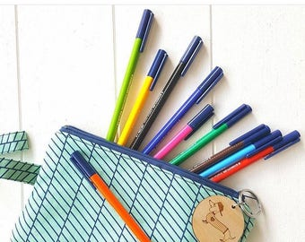 Mint Green Blue Geometric Pencil Case Make Up Bag Zipper Pouch