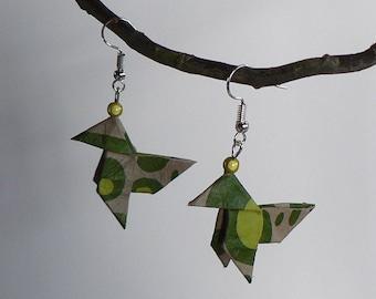 Boucles d'oreilles Origami Cocottes Fleurs Vertes.
