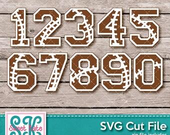 Football Numbers 0-9 SVG dxf EPS png JPG htv Heat Transfer Vinyl Cricut Silhouette Scrapbook Die Cut Sports Sweet Kate Designs