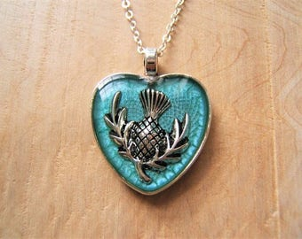 Scottish thistle heart pendant necklace. Emblem of Scotland. Silver and turquoise resin necklace.