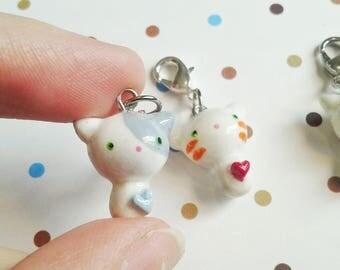 Polymer Clay Kawaii Cat Charm Chibi Kitty Charm