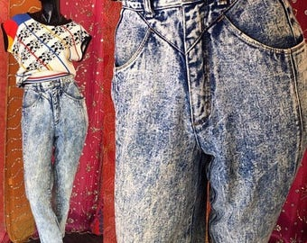 High Waisted Jeans Acid Wash Jeans Vintage 80s Stefano Punk Glam Rock Jeans