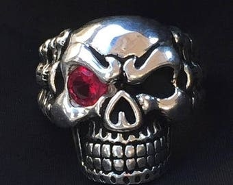June SALE 980 GILVER Biker Skull Ring Red CZ Eye Made in Usa