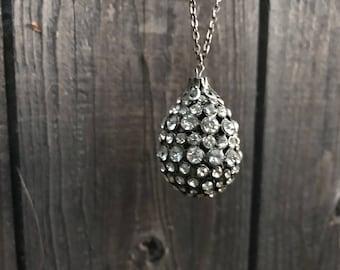 1950's Large Rhinestone Teardrop Pendant Necklace ~ Fabulous cocktail party necklace!