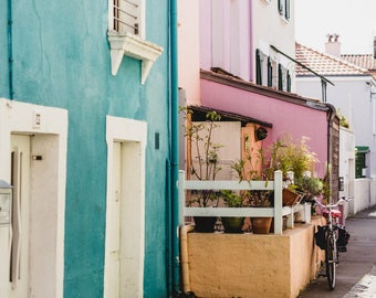 """France Travel Photography, """"Pastel Houses of Trentemoult"""", Gallery Wall Art Prints, Home Decor"""