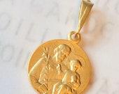Medal - St Joseph with Baby Jesus 18mm - 18K Gold Vermeil