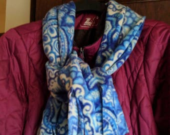 Blue and White Fleece Scarf. Soft Winter Scarf. Extra Wide Scarf, Warm, Winter Scarf.