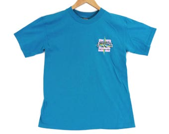 VTG 80s Ainsworth Hot Springs Tourist T-Shirt - Small Mens - BC Canada - 50/50 Thin Shirt - Teal - Vintage Tee - Vintage Clothing -