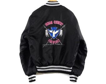 VTG 80s Indian Country Fireworks Athletic Bomber Jacket - Large - Black - Native American - Coeur D'Alene Nation Idaho - Vintage Clothing -