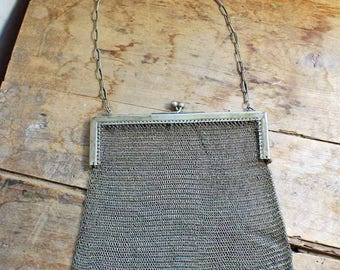 Antique Edwardian Chainmail Bag / Metal Baby Mesh Metal Chainmail Purse Handbag / beginning of 20th century party bag