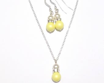 Single pearl necklace, necklace and earring set, necklace, bridesmaid necklace, sterling silver necklace, pearl necklace, yellow necklace
