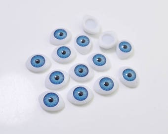 15pair Blue Eyeball Cabochons,Oval Doll Eyes Plastic,Eyes Craft,Eyes Flat Back,doll eyes supplies - 12x16mm