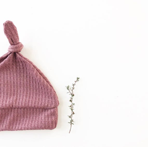 Beanie/Hat - Infant Knot Beanie in Dark Mauve Waffle Knit