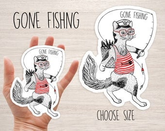 Cat gone fishing vinyl laptop stickers iphone cute animal stickers fishes cat sailor cool decal stickers skateboard planner, diary die cut