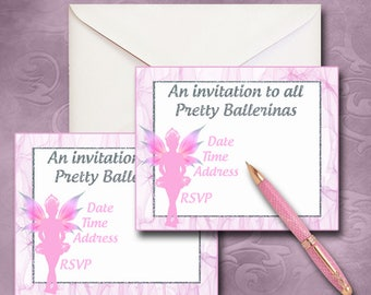 Fairy Collection Ballerina Fairy Invitation Instant Download Printable Fairy Invitations