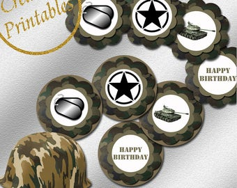 Army Cupcake Toppers - Instant Download - Printable Cupcake Toppers - Boy Party