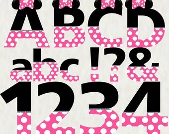 Minnie Mouse Pink Alphabet and Numbers - Instant Download - Digital Alphabet