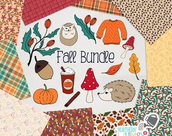 Fall Digital Paper and Clip Art BUNDLE - save 50% on Northern Whimsy hand drawn autumn sets!  Small commercial use (CU) license included.