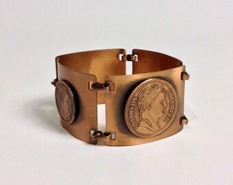 Vintage Wide Copper Coin Bracelet / Vintage Link Coin Bracelet / Wide Chunky Bracelet / Napoleon Empereur Coin Bracelet