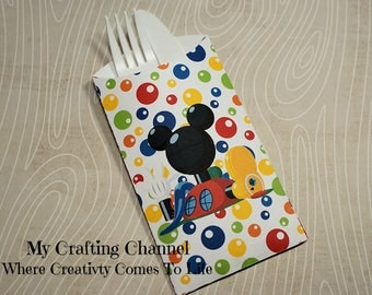 Mickey Mouse Clubhouse Flatware Pouch Sets-Mickey-Mickey-Clubhouse-Silverware Pouch-Flatware Pouch-Mickey Mouse