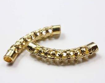 2pc 5mm Hole Gold Plated Hollowed Finding Tube for Bracelet and Necklace, 52mm Long TU87