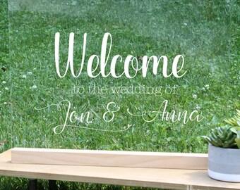 Custom Acrylic Wedding Welcome Sign, Personalized Wedding Welcome Sign, Woodland Wedding Sign, Boho Chic wedding, woodland wedding