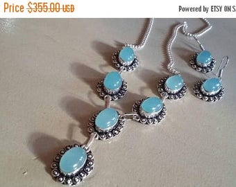 Holiday SALE 85 % OFF Chalcedony   Necklace  Chain Earrings  Gemstone  Sterling Silver Set
