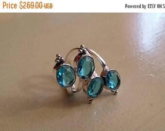 Holiday SALE 85 % OFF Blue Topaz  Size Adjustable Ring Gemstone. 925 Sterling  Silver