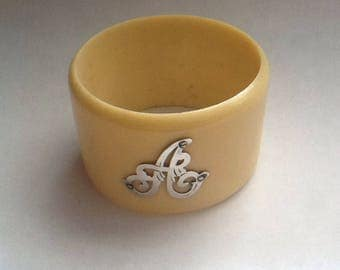 Vintage Antique Celluloid & Sterling Silver Initial 'A' Napkin Ring