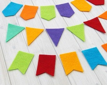 Mini Pennant Flags, Felt Flags, DIY Banner or Garland, Party Decor, Die Cut Shapes, Felt Precuts, 24 pieces
